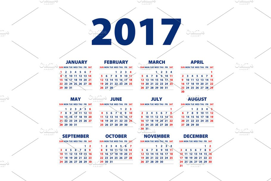 Calendar for 2017 in Graphics