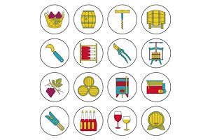 Set of wine industry icons