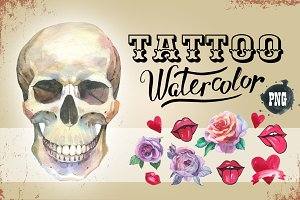 Tattoo PNG watercolor set skull