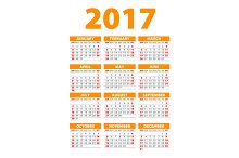 orange Calendar for 2017