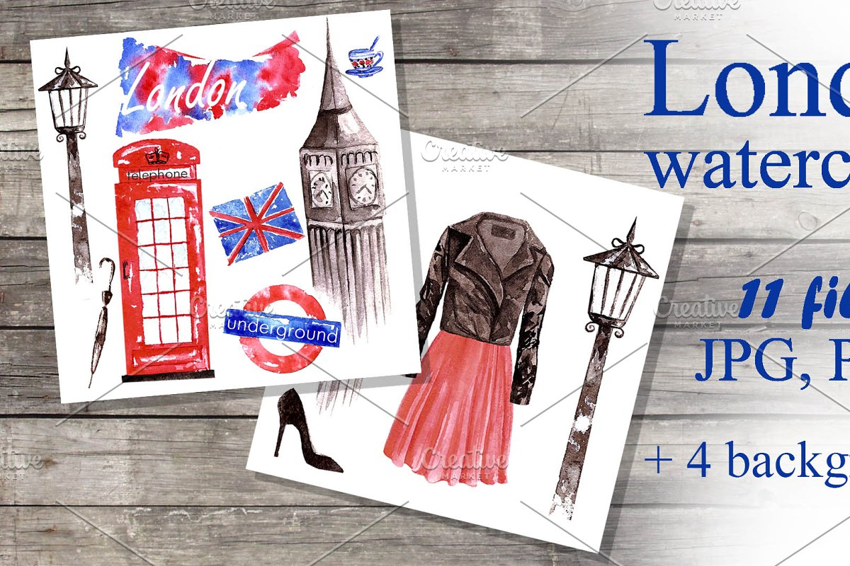 Set of watercolor images of London.