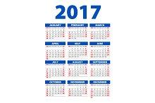 blue Calendar for 2017