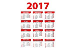 red Calendar for 2017