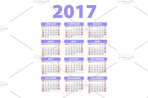 violet Calendar for 2017