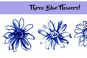Three Blue Watercolor Flowers