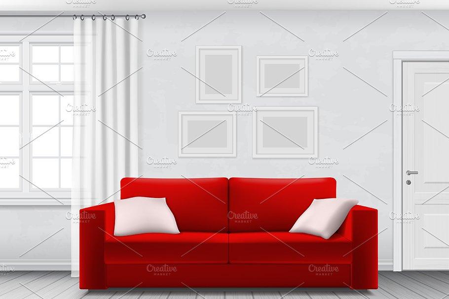 White interior and red sofa