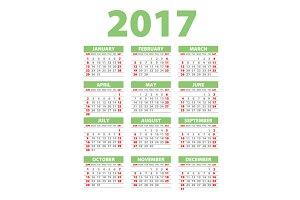 green Calendar for 2017