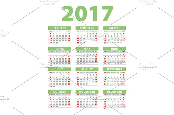 green Calendar for 2017 in Graphics