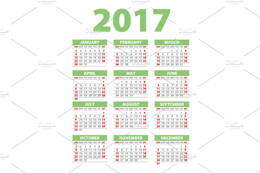 green Calendar for 2017 in Graphics - product preview 8