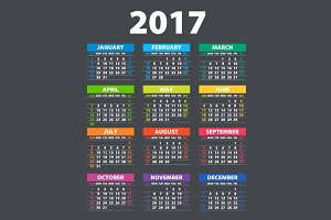 color Calendar for 2017