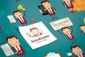 Set of Cartoon Businessman. Vector
