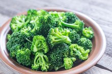 Cooked broccoli on the plate