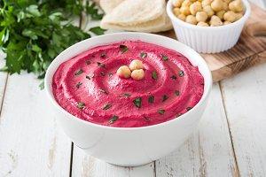 Beet hummus and ingredients