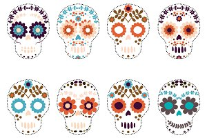 Sugar skulls, Flower skull set
