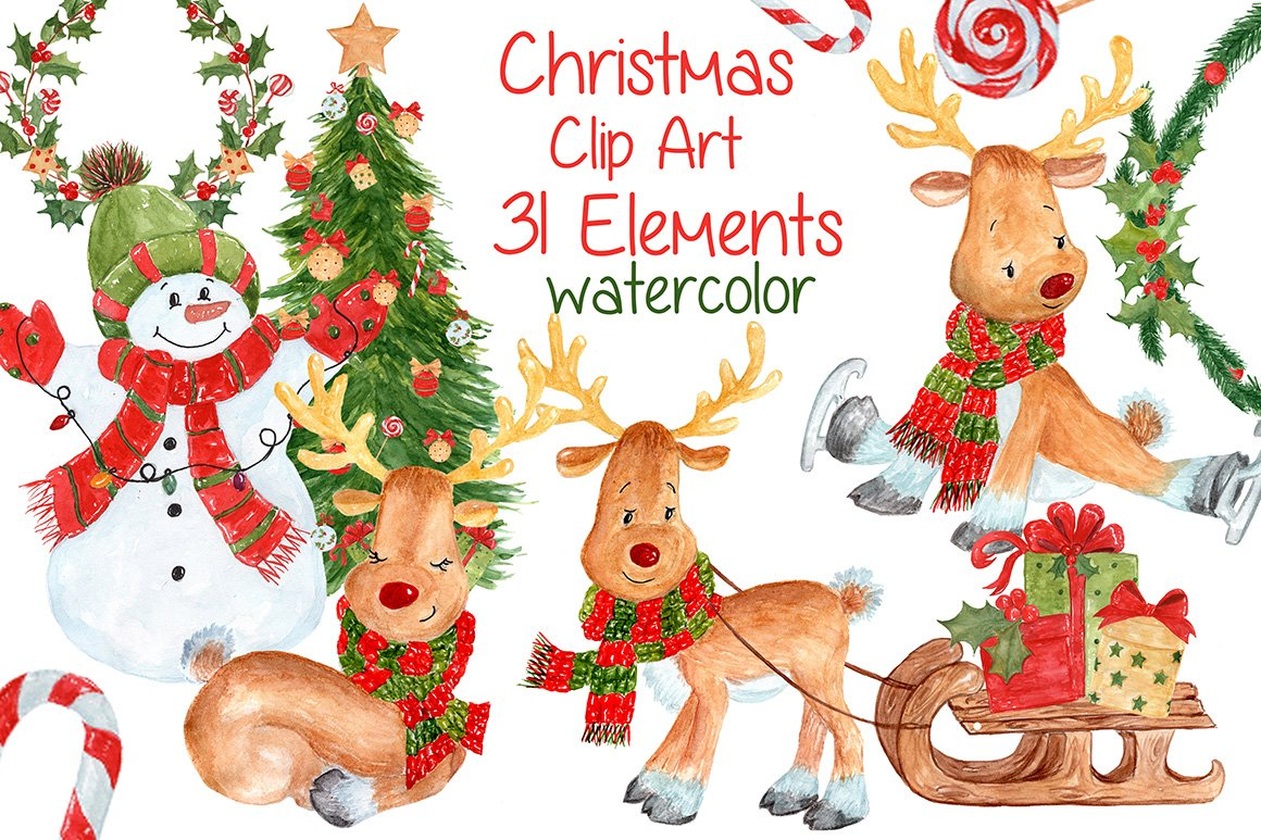 Watercolor Christmas kids clipart ~ Illustrations ...