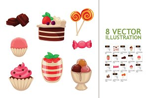 Set of Sweets, Cakes, Cupcakes