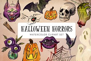 Halloween Horrors Watercolor Clipart