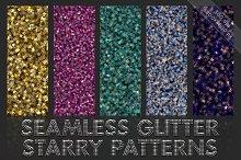 Starry glitter patterns. Seamless