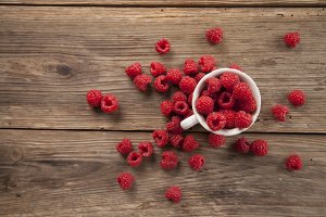 Raspberries in a cup