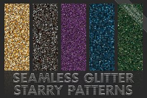 Starry glitter patterns. Seamless
