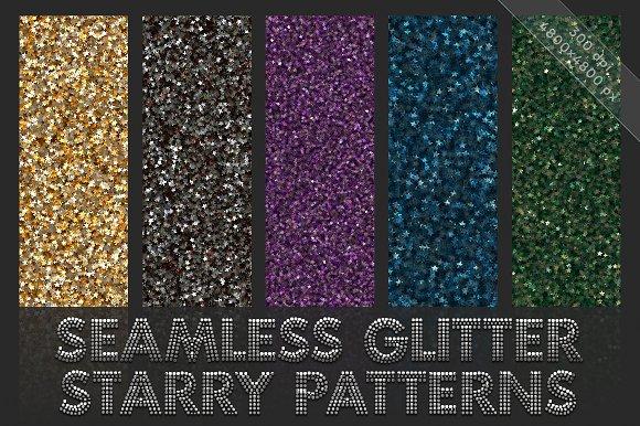 Starry glitter patterns. Seamless - Patterns