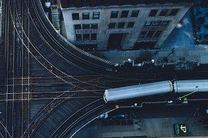 Chicago CTA Train Overhead View