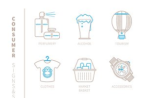 Shopping lineart iconset