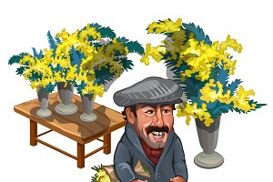 Man character, seller of flowers