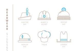 Headwear lineart iconset