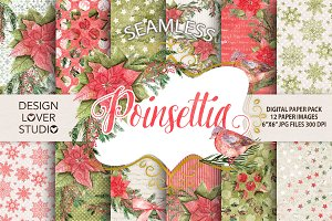 "Watercolor ""Poinsettia"" papers"