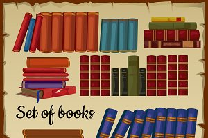 Set of books from the library