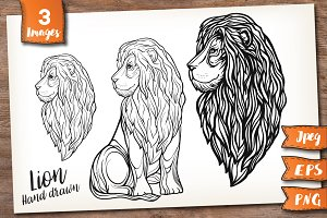 Lion. Graphic set.