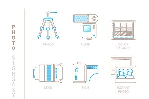 Photography lineart iconset