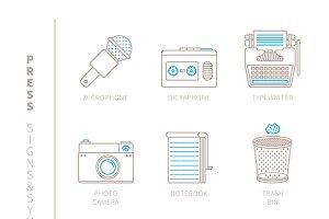 Media & press lineart iconset