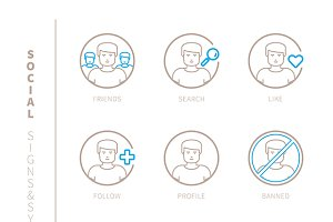 Social network lineart iconset
