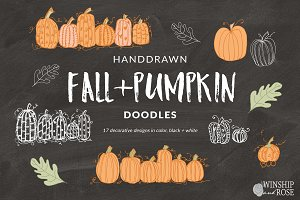 Fall Pumpkin Doodles - Fall Clip Art