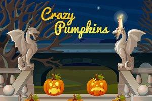 Stone figures and crazy pumpkins