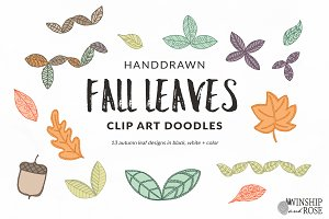 Fall Leaves - Leaf Clip Art Doodles