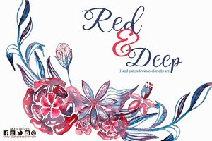 Floral watercolor clip art red blue