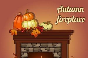 Pumpkins and fireplace