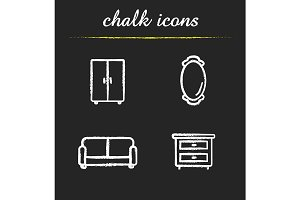 Room interior. 4 icons. Vector