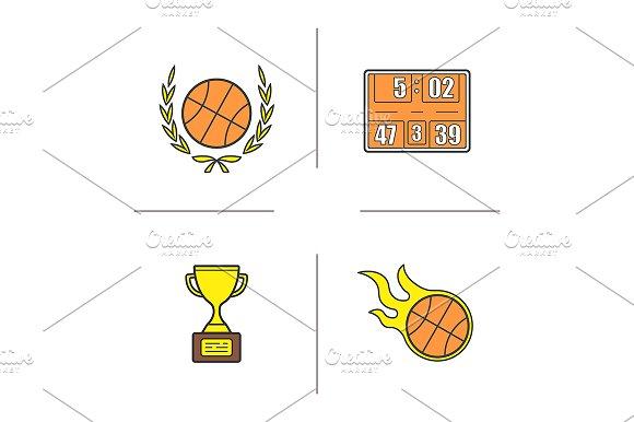 Basketball. 4 icons. Vector