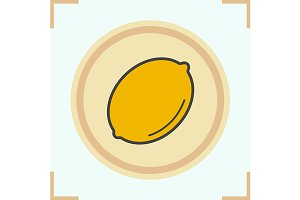 Lemon color icon. Vector