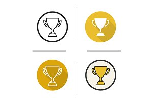 Sport trophy. 4 icons. Vector