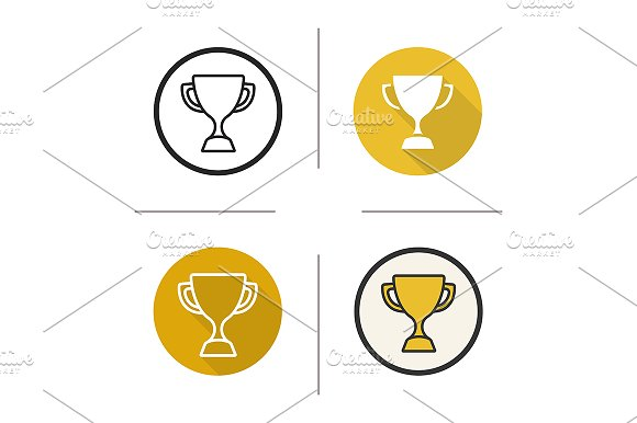 Sport trophy. 4 icons. Vector in Icons