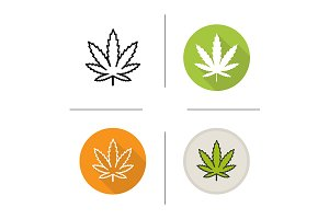 Marijuana leaf. 4 icons. Vector