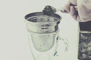 Tea in strainer