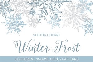 Vintage Snowflakes Vector Clipart