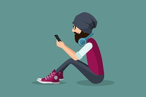 Vector hipster using mobile phone