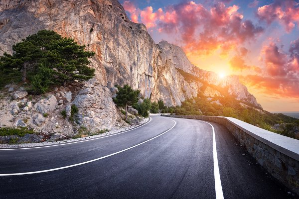 Landscape with mountain road